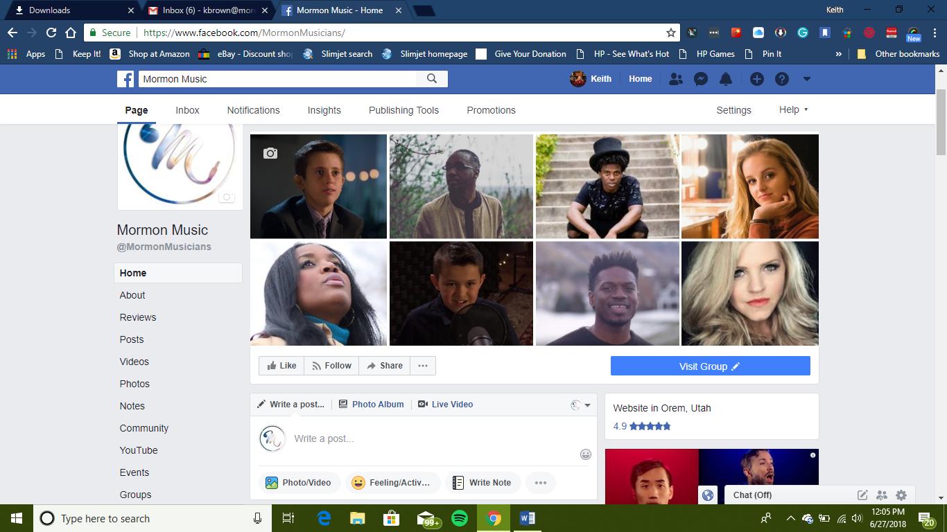 Mormon Musicians Facebook page