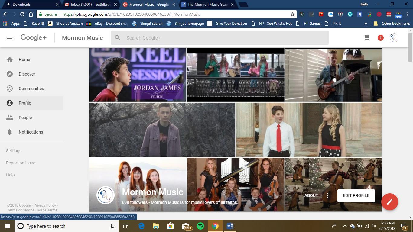 Mormon Music Google+ Page
