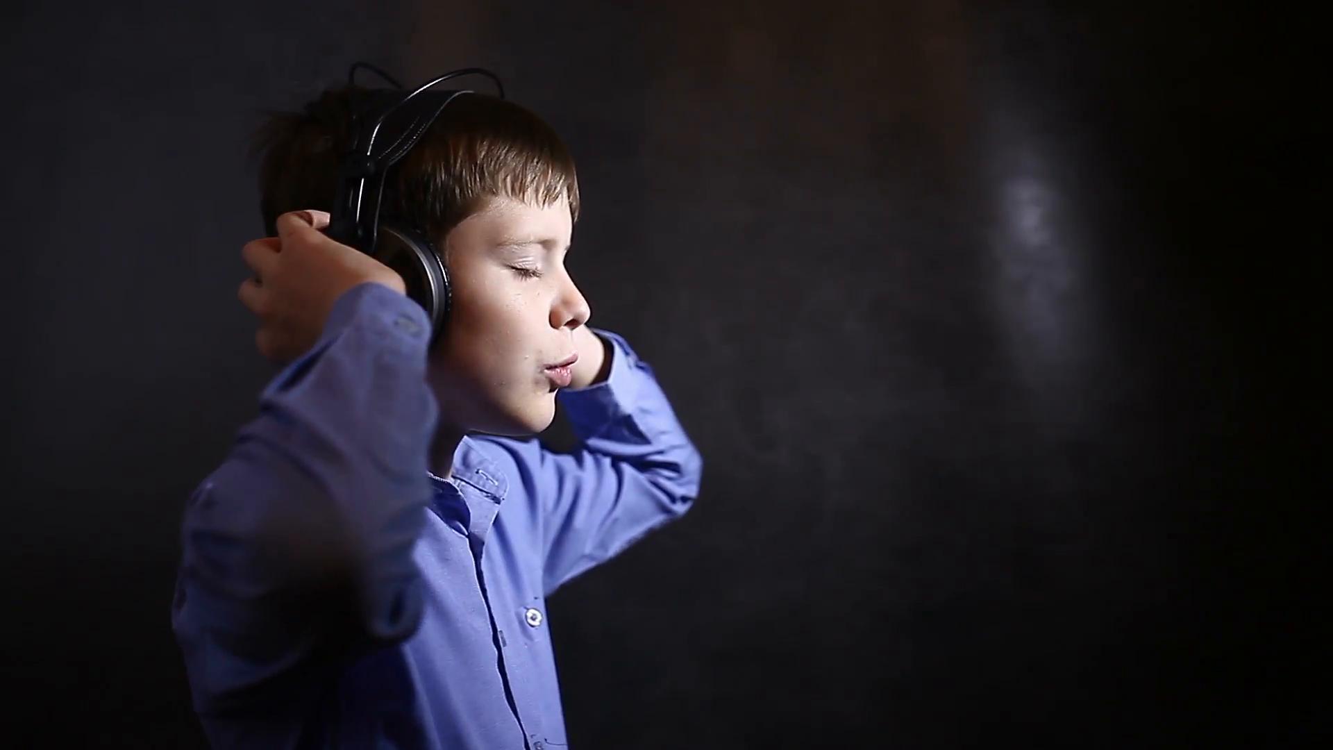 Boy listening to music.