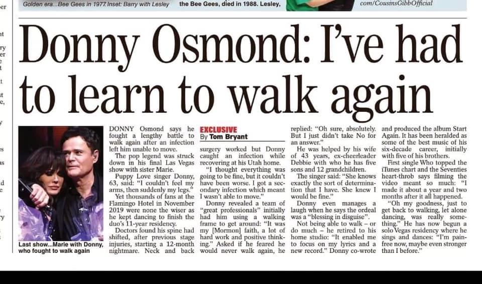 Donny Osmond Learns to Walk Again